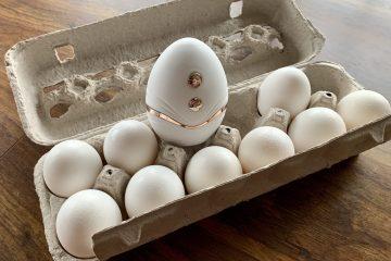 CalExotics Empowered Smart Pleasure Goddess Vibrator sitting inside a carton of eggs