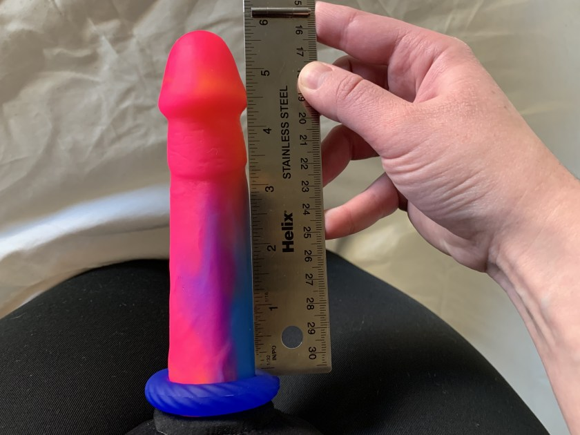 """Measuring Vixen Creations Mustang dildo with the Ahoy Cock Ring being """"worn"""""""