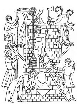 Mittelalterliche Baustelle
