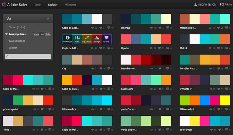 Mejores combinaciones de colores para web  Adobe Kuler