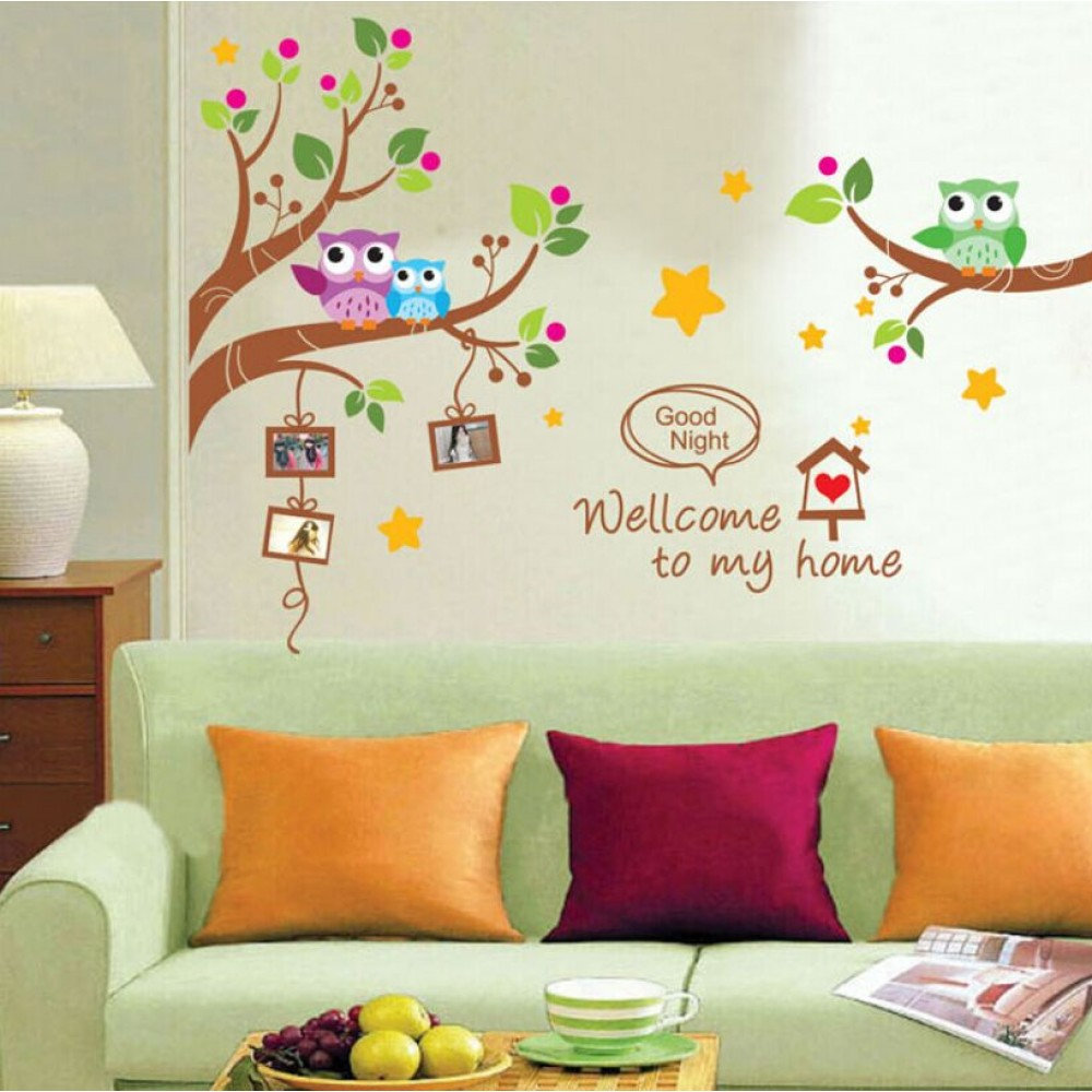 Wall Decor Stickers - Owl Photo Frame Tree Branch Kids Wall Sticker - XY-1159