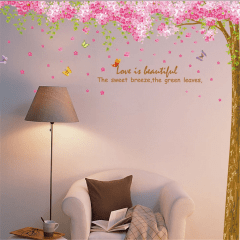 Wall Decor Stickers - Romantic Large Pink Sakura Flower Cherry Blossom Tree Wall Sticker Decals PVC Removable Wall Decal for Nursery Girls and Boys Children's Bedroom, Living Room, Home (Pink) XY-1096