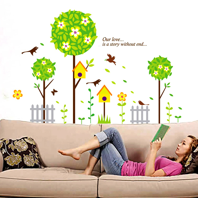Wall Decor Stickers - Creative Tree with Bird House Wall Stickers - XY-1152
