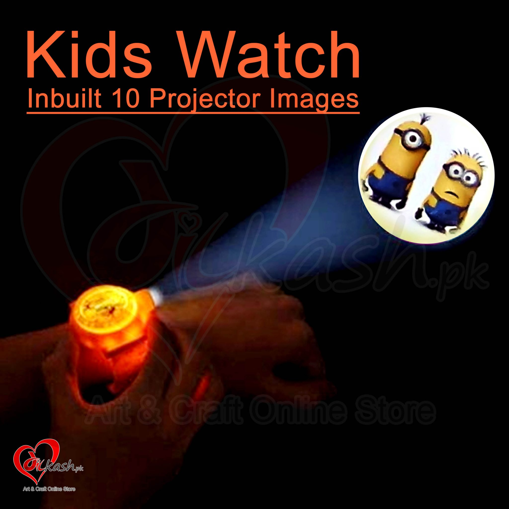 Kids Watches with Inbuilt 10 Projector Images of Despicable Me 2 NO.ZL8510NB
