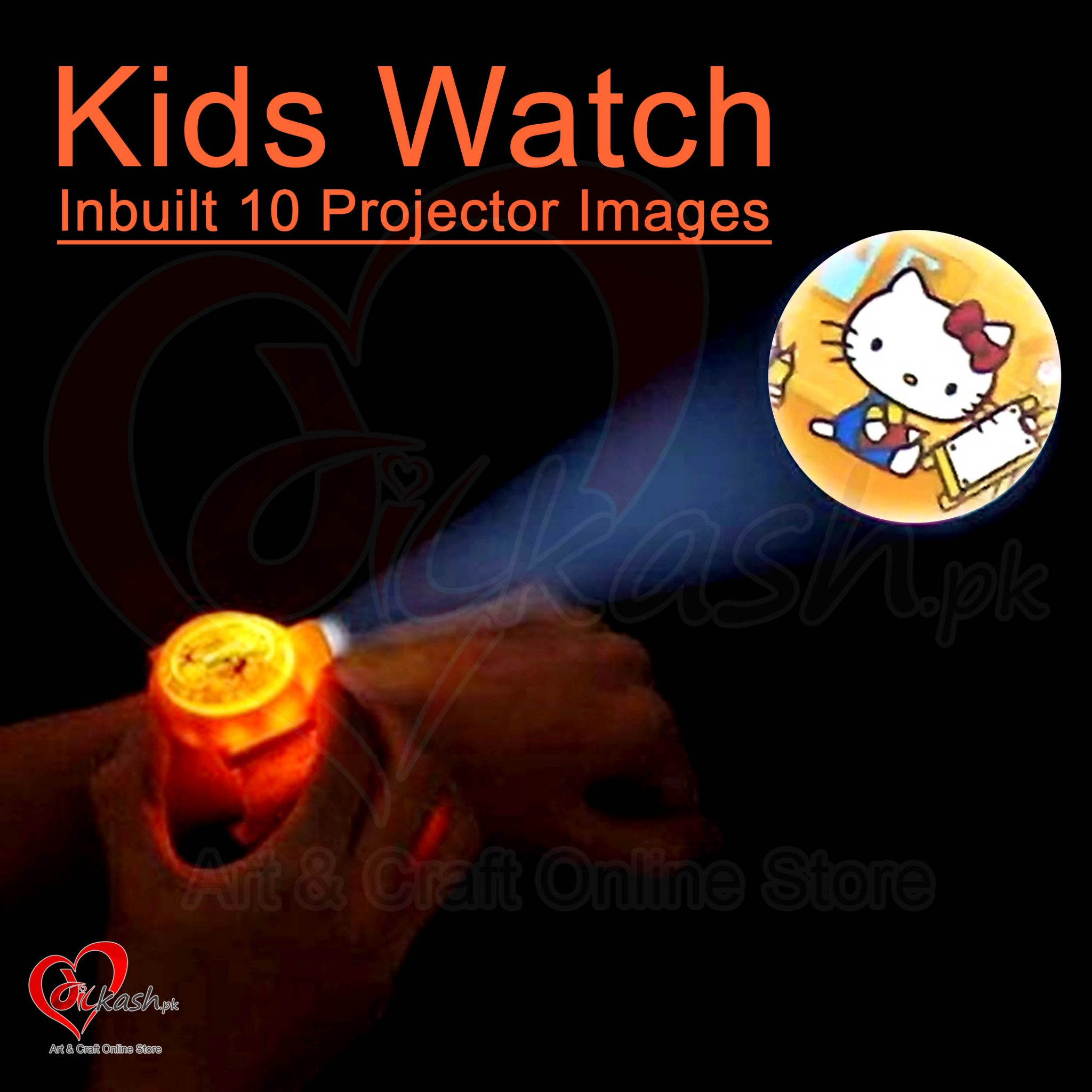 Kids Watches with Inbuilt 10 Projector Images of Hello Kitty NO.ZL8510E