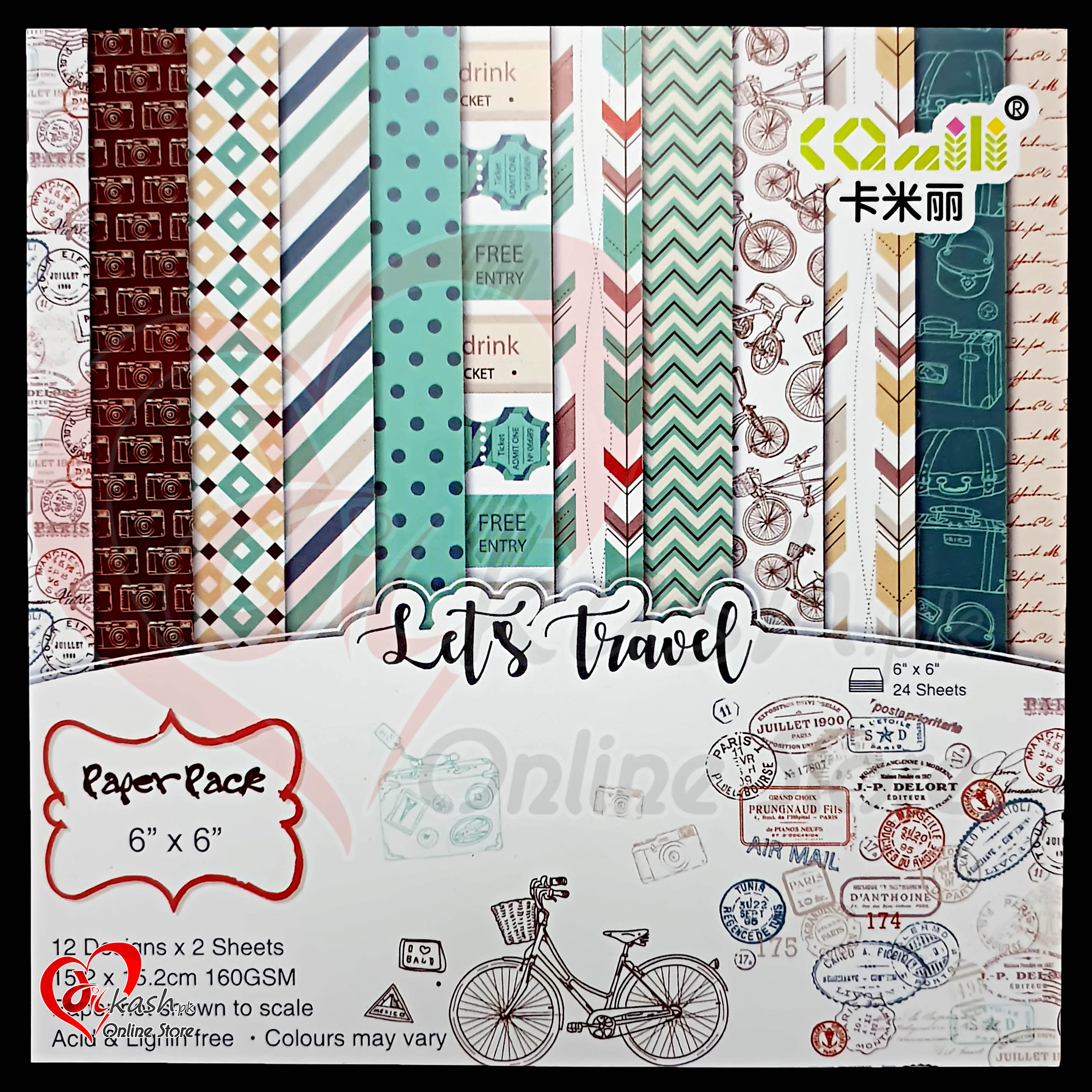 Scrapbook Paper Craft Pattern 6×6 Inches – Pattern Paper – Lets Travel