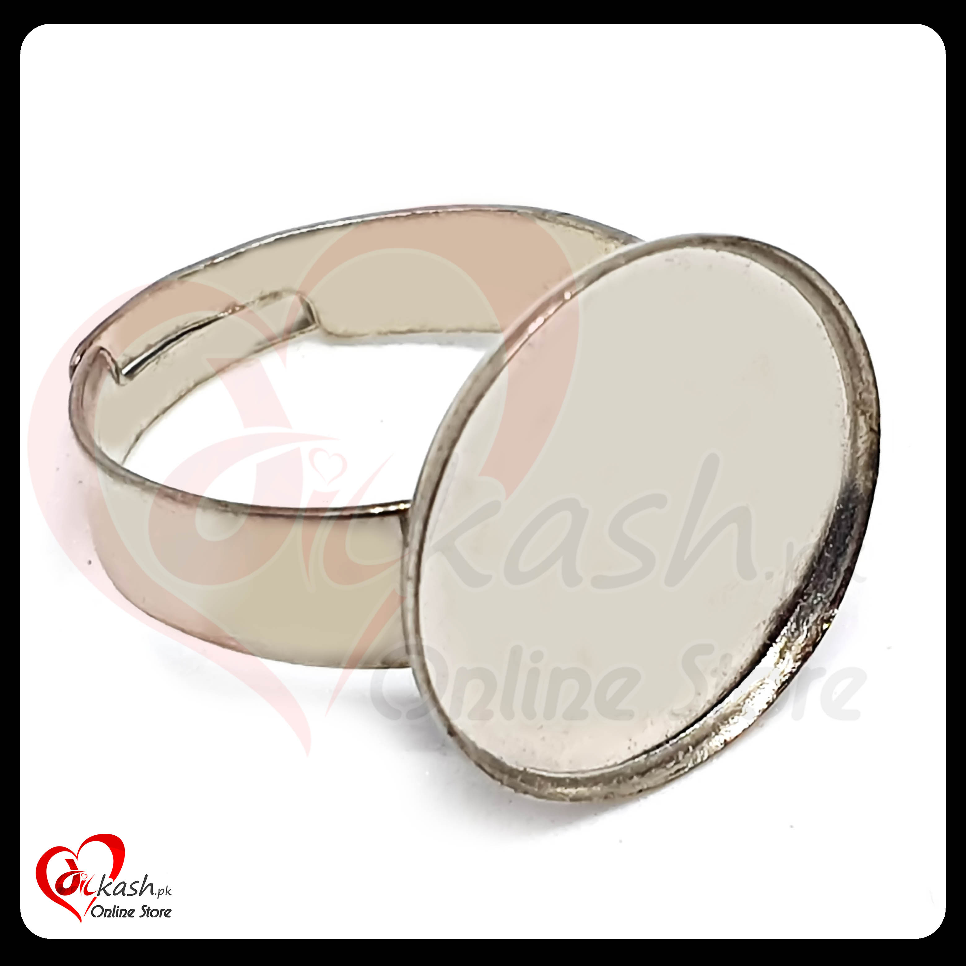 Jewelry Rings Base - Half Inch Round Ring Base with Border - Silver