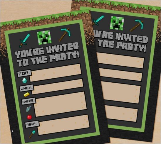 minecraft einladungskarten vorlage 16