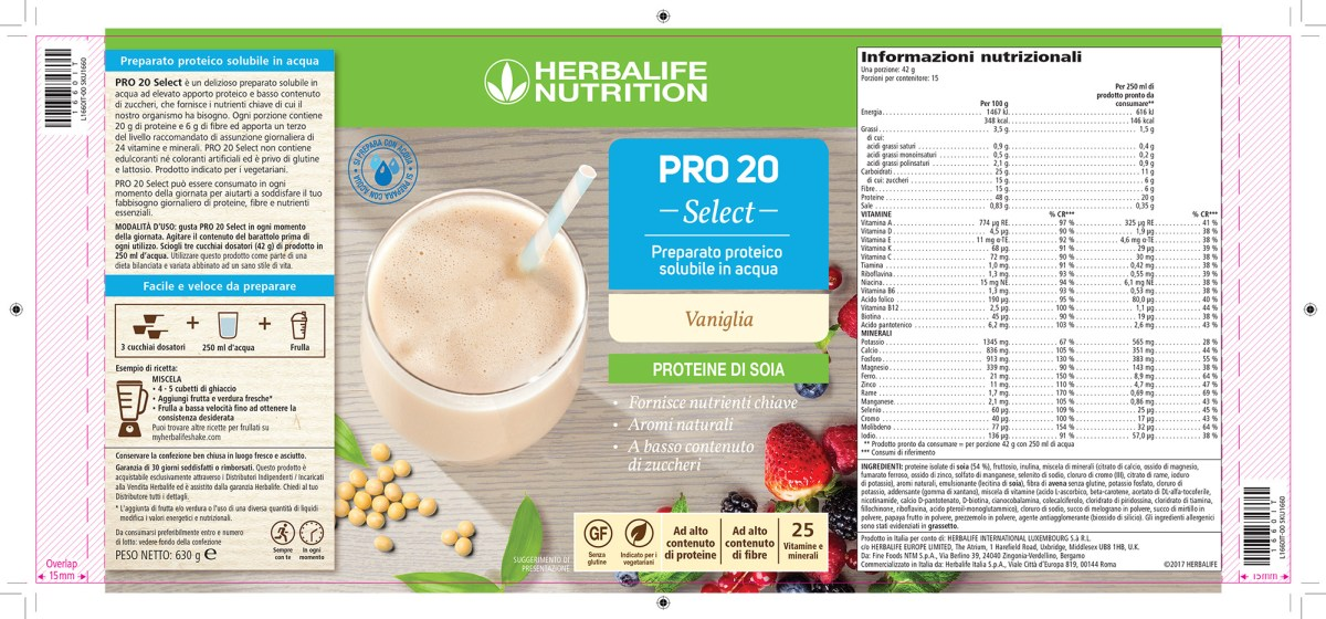 herbalife formula 1 pro 20 select