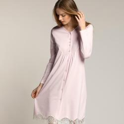 Camicia da notte Liu Jo Notte art Pizzo fondo in cotone Rosa