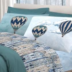 Completo lenzuola matrimoniale Pensieri delicati art. Volare , con stampa mongolfiere, disponibile in 3 varianti azzurro, arancio, beige