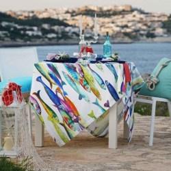 Tovaglia Lino Poisson Bleu Tessitura Toscana
