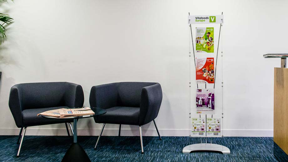 Floor standing A4 brochure display systems in reception area