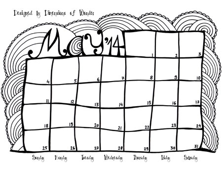 Free Printable Monthly Calendar May 2014 {Hand Drawn