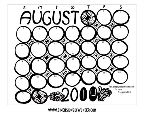 Free Printable Monthly Calendar August 2014 {Hand Drawn