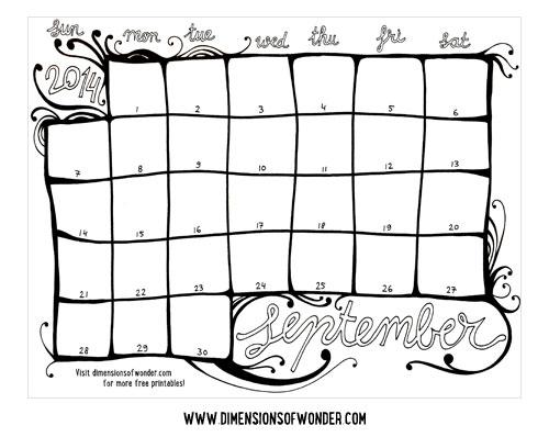 Free Printable Monthly Calendar September 2014 {Hand Drawn