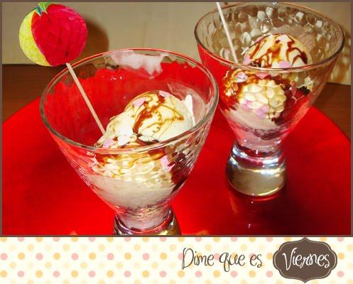 CrujiOreo con Helado de vainilla y caramelo líquido
