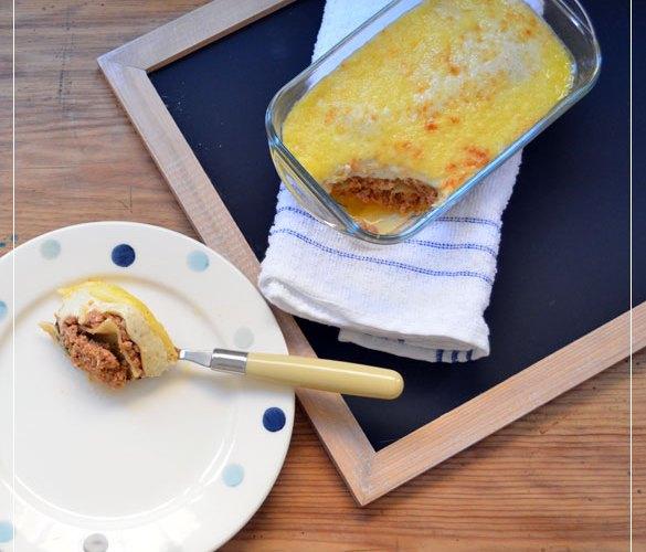 Lasagna tradicional tipo bolonesa