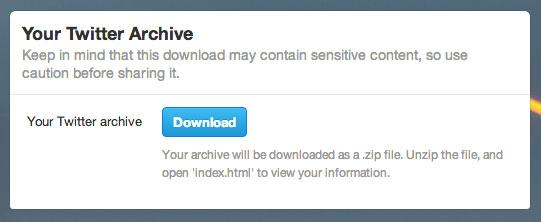 Twitter archief downloaden