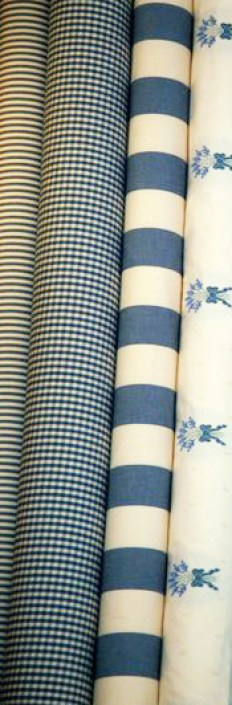 Blue gingham, stripe and floral fabrics