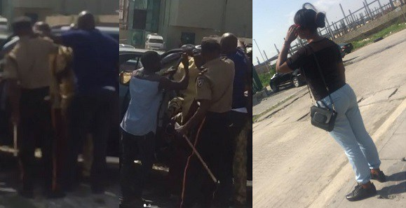 Drama as Nigerian man pulls out belt and flogs wife in public over side chick