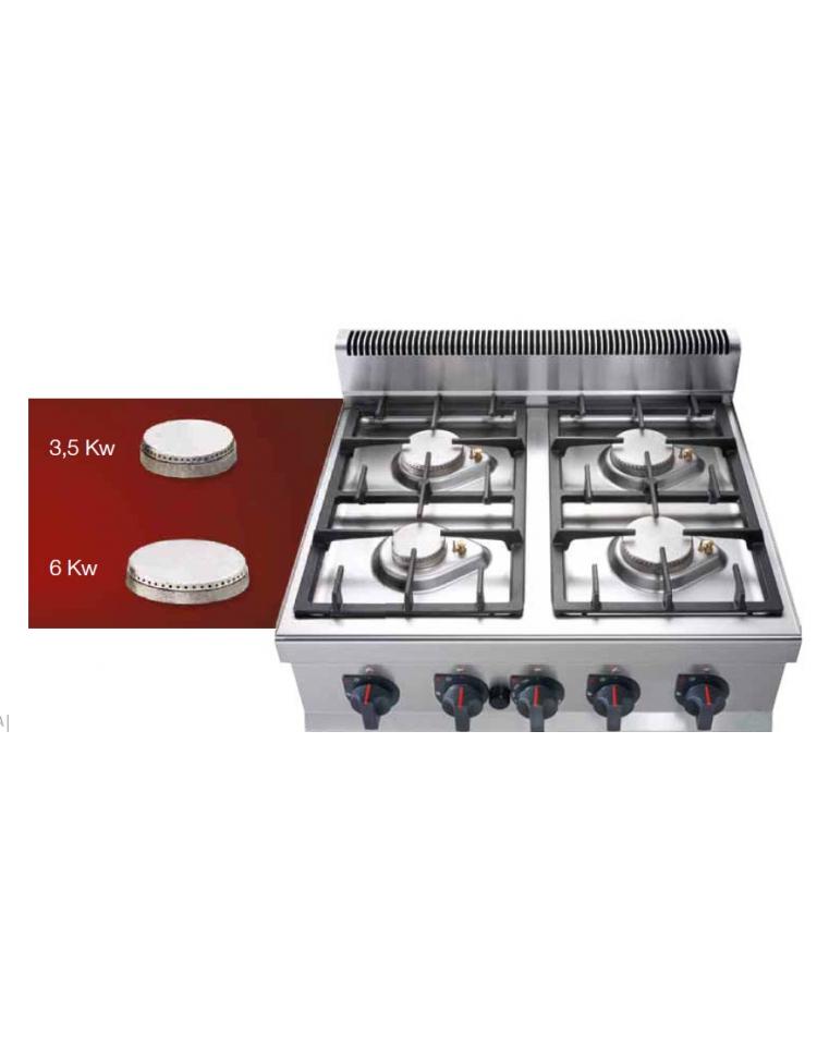 Cucina professionale industriale a gas 4 fuochi per