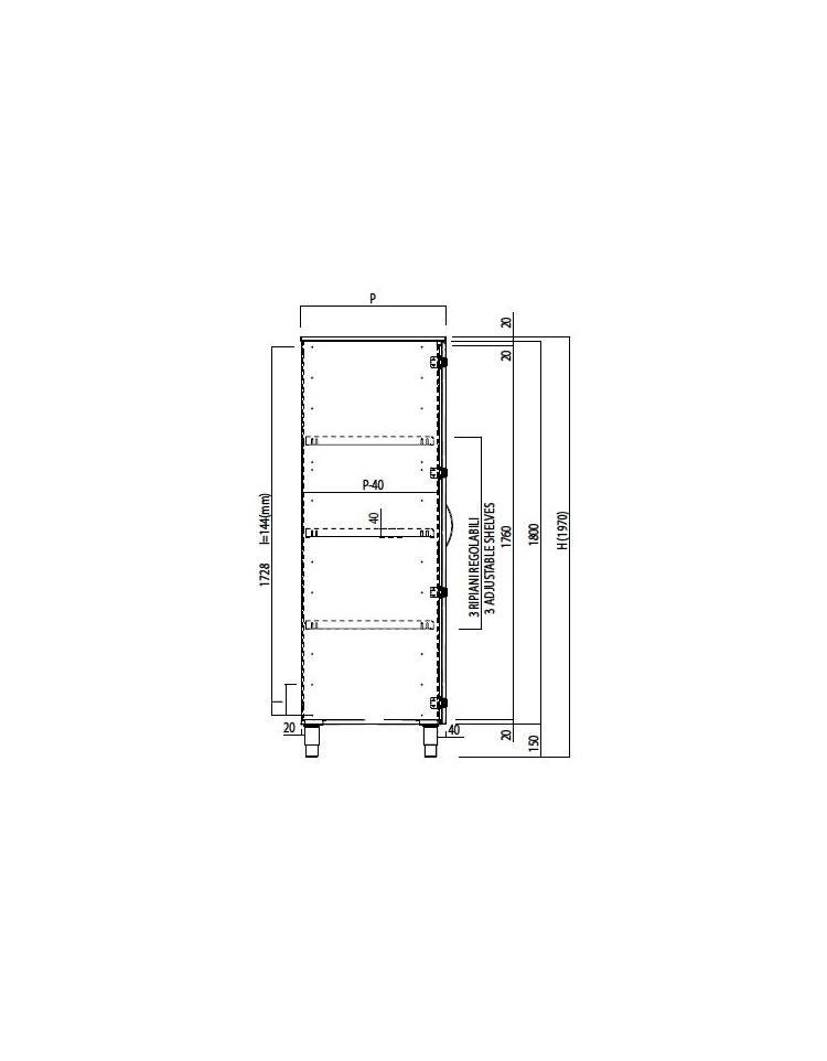 Armadio sala operatoria inox con 2 ante a vetro e 3 ripiani inox  cm 120x58x197h  dinafornitureit