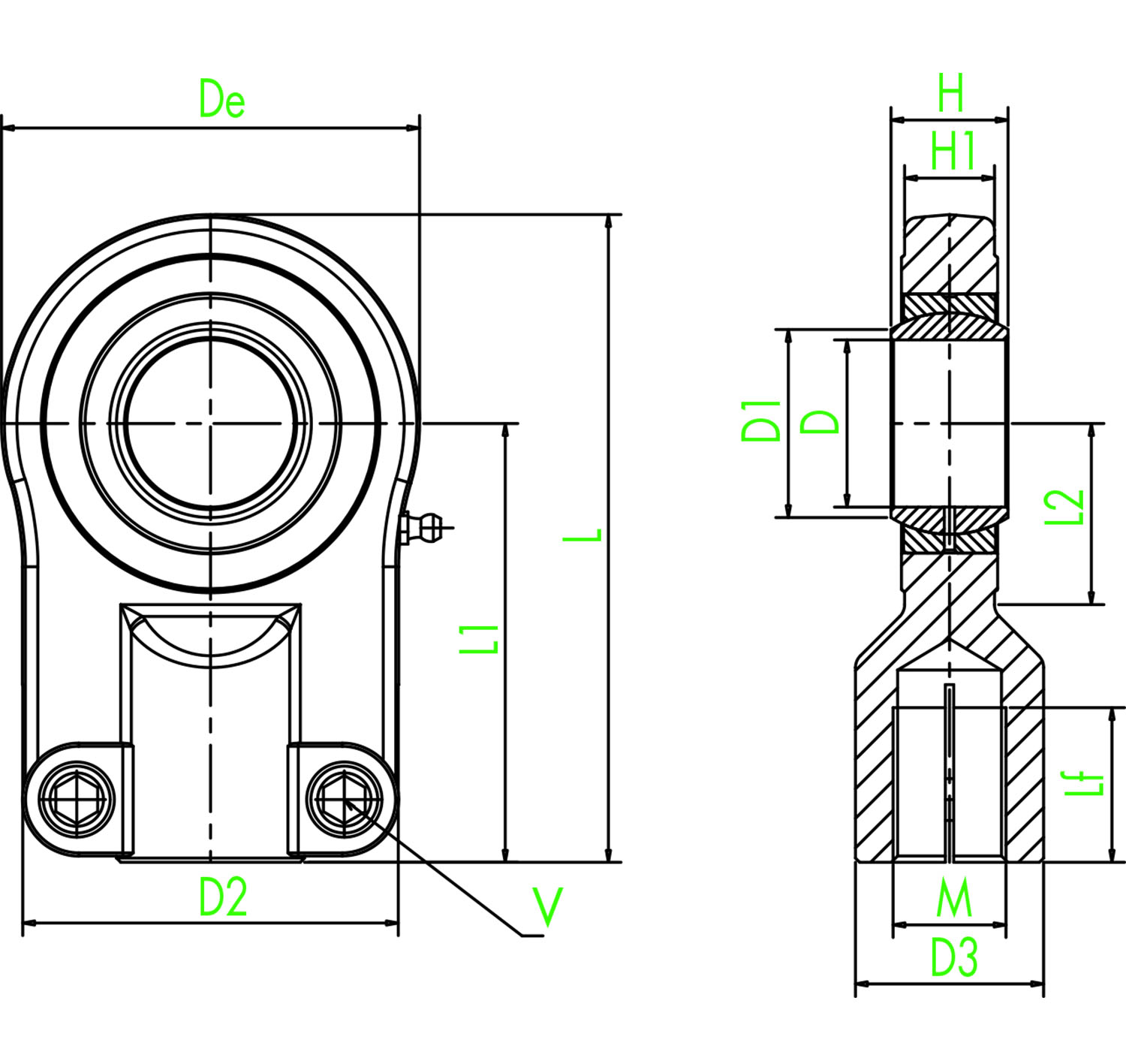 hight resolution of rod eye with spherical bearing type s