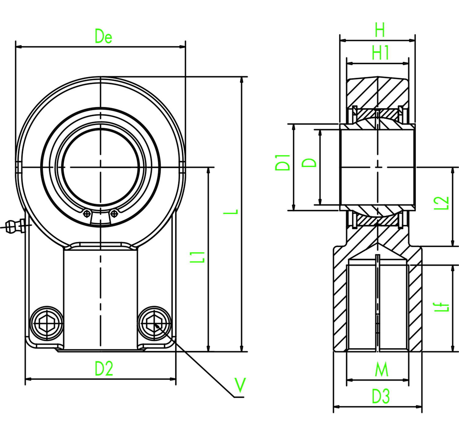 hight resolution of rod eye with spherical bearing type ce
