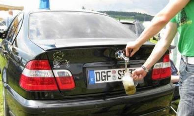 car with beer