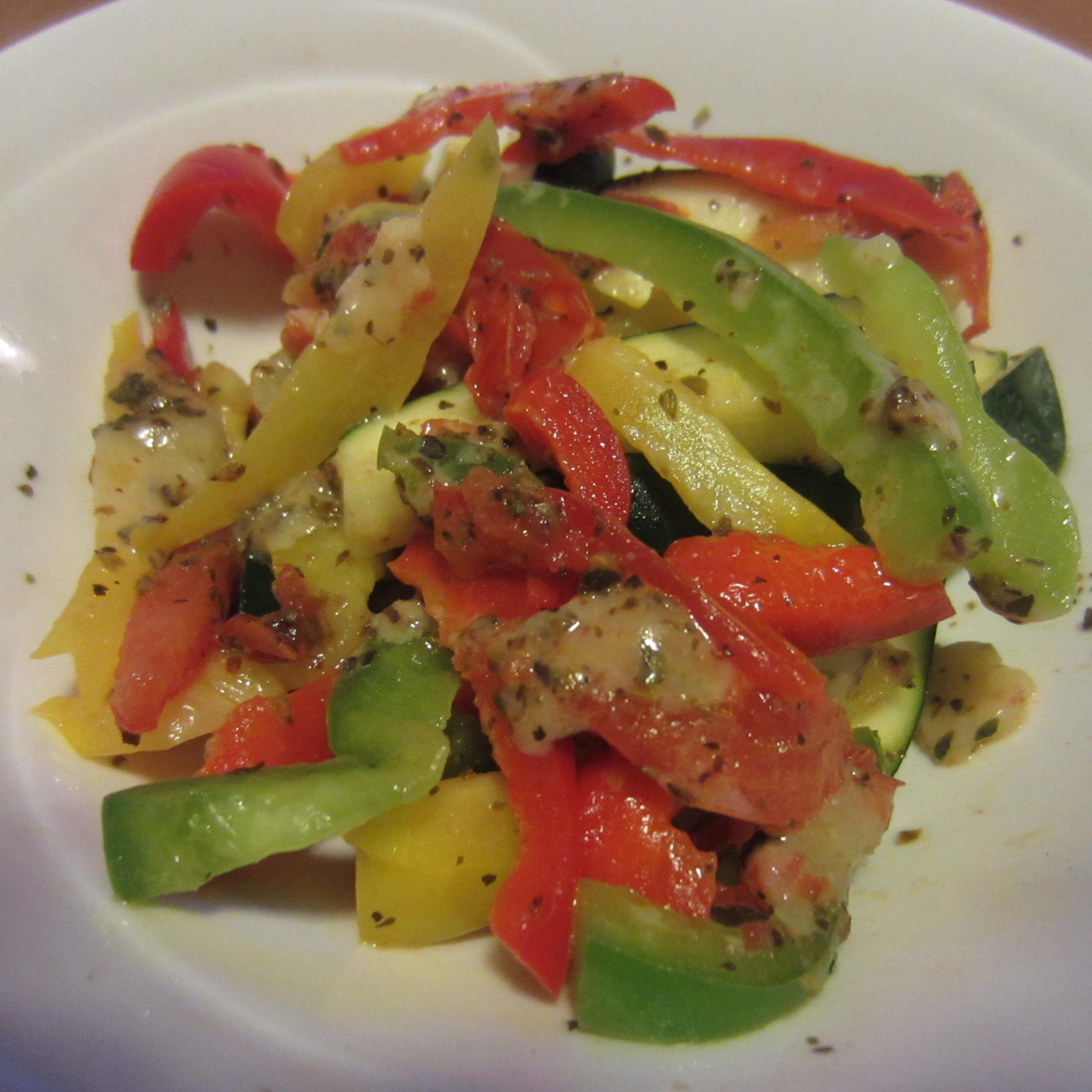 Zucchini & Pepper salad with Cheddar