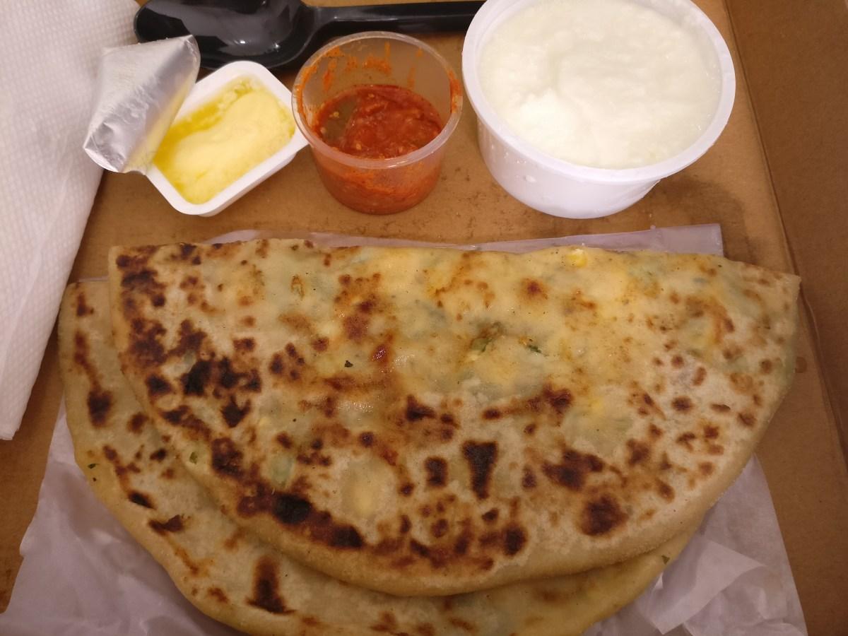 Cheese corn capsicum paratha