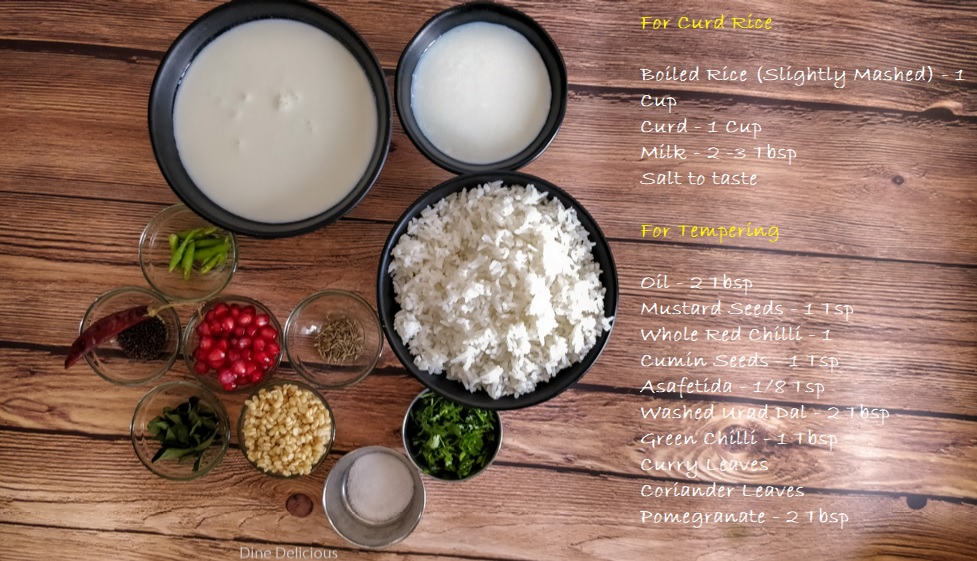 Curd Rice Ingredients