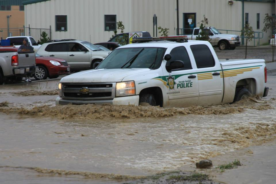 Navajo Nation Police responding to flooding at Navajo Technical University in Crownpoint, N.M., on Sept. 13, 2013. Courtesy photo.