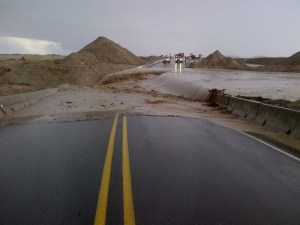 U.S. Route 491 was closed because of flooding near Naschitti, N.M., on Sept. 13, 2013. Courtesy photo.