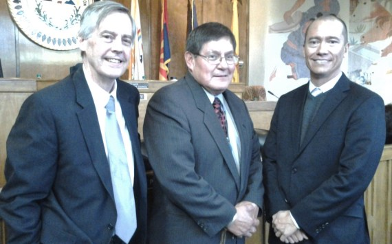 Navajo Transitional Energy Company interim attorney Paul Frye, Navajo Council Delegate LoRenzo Bates, who sponsored legislation for $4.1 million for NTEC, NTEC Board President Steve Gunderson at special Council session in Window Rock, Ariz.,, on Oct. 16, 2013. Photo by Marley Shebala