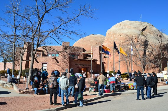 Navajo citizens made it clear with signs and their voices that opposed Legislation 0367-13 as they stood outside the Navajo Council chamber in Window Rock, Ariz., on Dec. 27, 2013. Photo by Marley Shebala