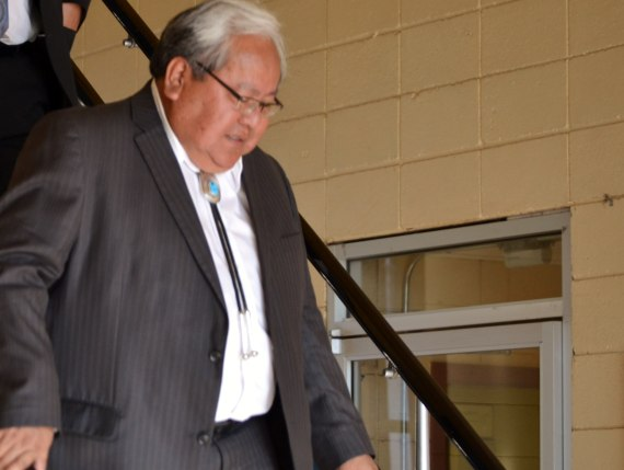 Navajo Nation Council Speaker Johnny Naize leaving the Navajo Nation Window Rock District Court on March 11, 2014, where he pleaded not guilty to all of his 12 criminal charges that were filed against him by the Navajo Nation Special Prosecutors. Photo by Marley Shebala
