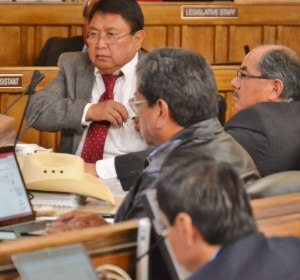 Navajo Council Delegate Mel Begay said the Council should focus on tribal government reform, not Naize's removal as speaker on April 4, 2014. Sitting to Begay's right is Delegates Nelson BeGaye, Russell Begaye and Jonathan Nez. Photo by Marley Shebala