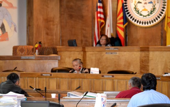 Navajo Council Resources and Development Committee meeting in the Council chamber in Window Rock, Ariz., on April 15, 2014. Photo by Marley Shebala