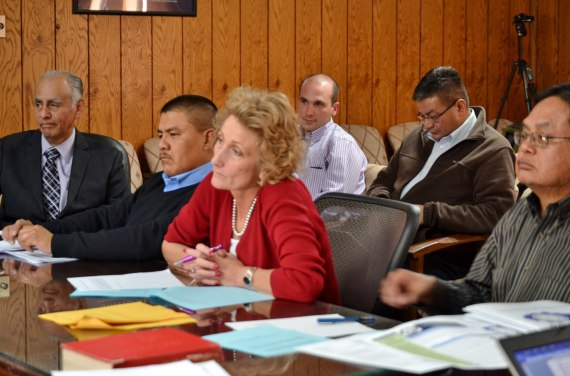 (L-R) Navajo Nation Controller Mark Grant, Council Delegate Jonathan Hale Deputy Attorney General Dana Bobroff, and Office of Management and Budget Director Dominic Beyal report to the Budget and Finance Committee on how to legally allow emergency funding to be carried over from budget year to another on April 1, 2014. Photo by Marley Shebala