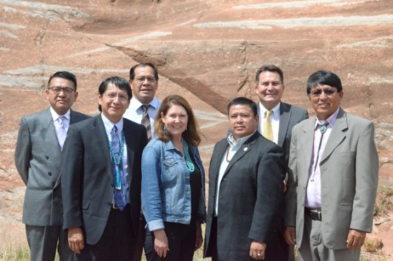 The Navajo Nation Legislative Communications Office took this photo of the Navajo-Hopi Land Commission on July 21, which was opening day of the Navajo Council summer session. (L-R) NHLC members Duane Tsinigine, Jonathan Nez, and Lorenzo Curley, U.S. Rep. Ann Kirkpatrick, NHLC member Alton Shepherd and Dwight Witherspoon, and Chairperson Walter Phelps. Photo courtesy of Navajo Nation Legislative Communications Office.