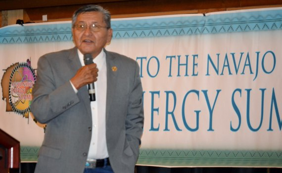 Navajo Nation Ben Shelly says that federal and tribal red tape is what hinders energy development on the Navajo Reservation. Shelly opened the afternoon session of the Navajo Department of Natural Resources Energy Summit at the Twin Arrows Casino & Resort on July 23, 2014. Photo by Marley Shebala. (Please provide proper photo credit when reusing photo.)