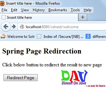 Spring Page Redirection Example - Dinesh on Java
