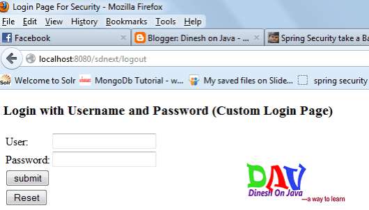 Spring Security Login Form Based Example - Dinesh on Java