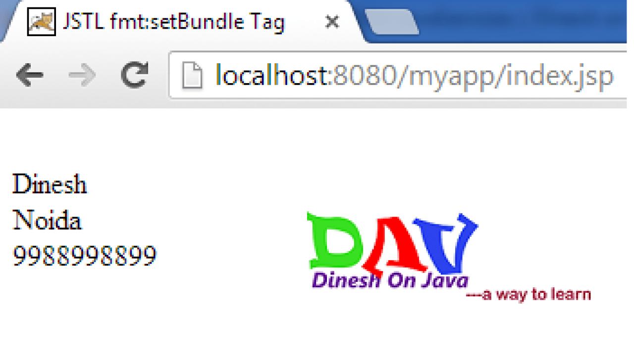 JSTL fmt Tag setBundle Example <fmt:setBundle> - Dinesh on Java