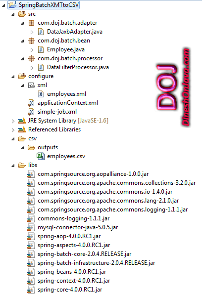 Spring Batch Example XML To CSV File - Dinesh on Java