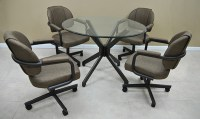 """Tobias M70 Caster Chairs with 42"""" Glass Alan Table ..."""