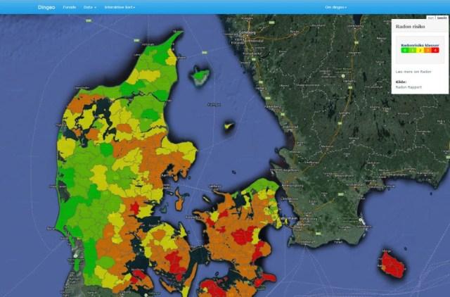Radon kort Danmark