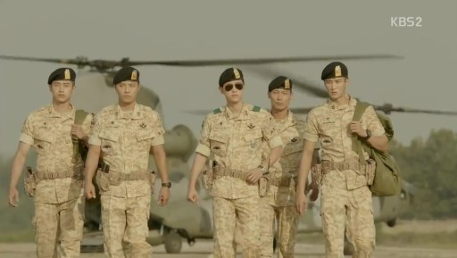 Scène du tarmac dans Descendants of the Sun